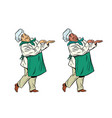 african and caucasian chef holding hand gesture vector image
