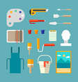 Set of Painter Supplies and Tools Interior Design vector image