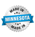 made in Minnesota silver badge with blue ribbon vector image