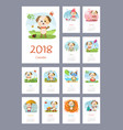calendar 2018 year with dog vector image