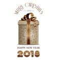 christmas banner 2018 with gift box vector image