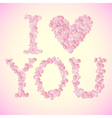 I Love You sign made of rose petals vector image