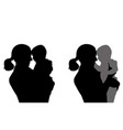 mother holding baby silhouettes vector image