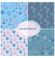 seamless pattern set with sea themed accessory vector image