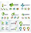 set of abstract geometric web icons logos vector image
