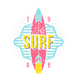 Surfing emblem in retro style vector image