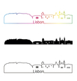 Lisbon V2 skyline linear style with rainbow vector image vector image