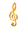 Gold treble clef white vector image vector image