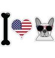 I love french bulldog with american symbols 2 vector image