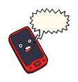cartoon mobile phone with speech bubble vector image
