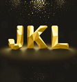 Golden Lowpoly Font from J to L vector image vector image