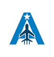 logo airplane lettering a star symbol icon vector image