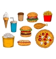 Burger menu sketch symbol with desserts and drinks vector image vector image
