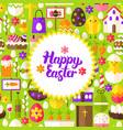 flat happy easter postcard vector image