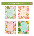 Floral Calendar - 2016 - May - August vector image