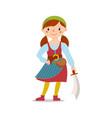 pirate girl holding sword cutlass vector image