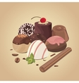 set of chocolate candies composition of vector image
