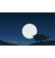 Silhouette of triceratops with moon landscape vector image