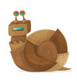 snail robot cartoon vector image