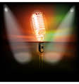abstract dark background with retro microphone on vector image