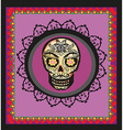 card with mexican skull vector image
