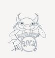 bull drummer doodle rock animal vector image