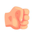 clenched male fist hand gesture cartoon vector image