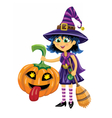 Girl in witch costume with pumpkin and broom vector image