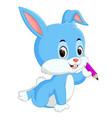 happy rabbit holding pencil vector image