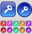 Key icon sign A set of twelve vintage buttons for vector image
