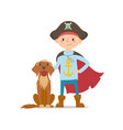 little boy in pirate hat standing with dog vector image