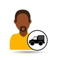 Man bearded character delivery vehicle transport vector image