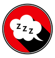 red round black shadow - ZZZ speech bubble icon vector image