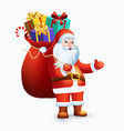 santa claus with big bag full of gifts vector image