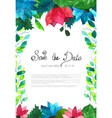 wedding card with flowers watercolor vector image