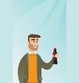 Young man drinking soda vector image