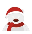 bear polar christmas character isolated icon vector image