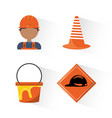 flat icons under construction concept vector image