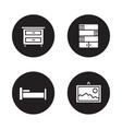 Bedroom furniture black icons set vector image