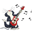 cat playing the electric guitar vector image