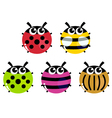 Colorful cartoon insects set isolated on white vector image