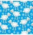 seamless pattern cute christmas sheep vector image