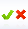 Yes or No paper check marks vector image