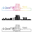 Singapore V2 skyline linear style with rainbow vector image