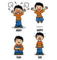 boy with different emotions vector image vector image