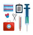 color healthcare medications tools icon vector image