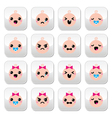 Baby boy and girl cute Kawaii buttons set vector image vector image