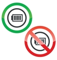 Charged battery permission signs vector image