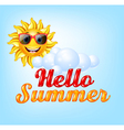 Summer background with cartoon sun vector image vector image