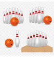 bowling ball and skittles realistic vector image